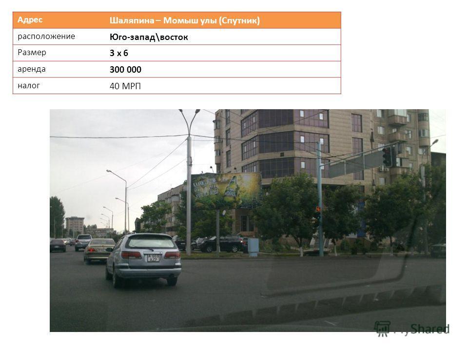 Адрес Шаляпина – Момыш улы (Спутник) расположение Юго-запад\восток Размер 3 х 6 аренда 300 000 налог 40 МРП