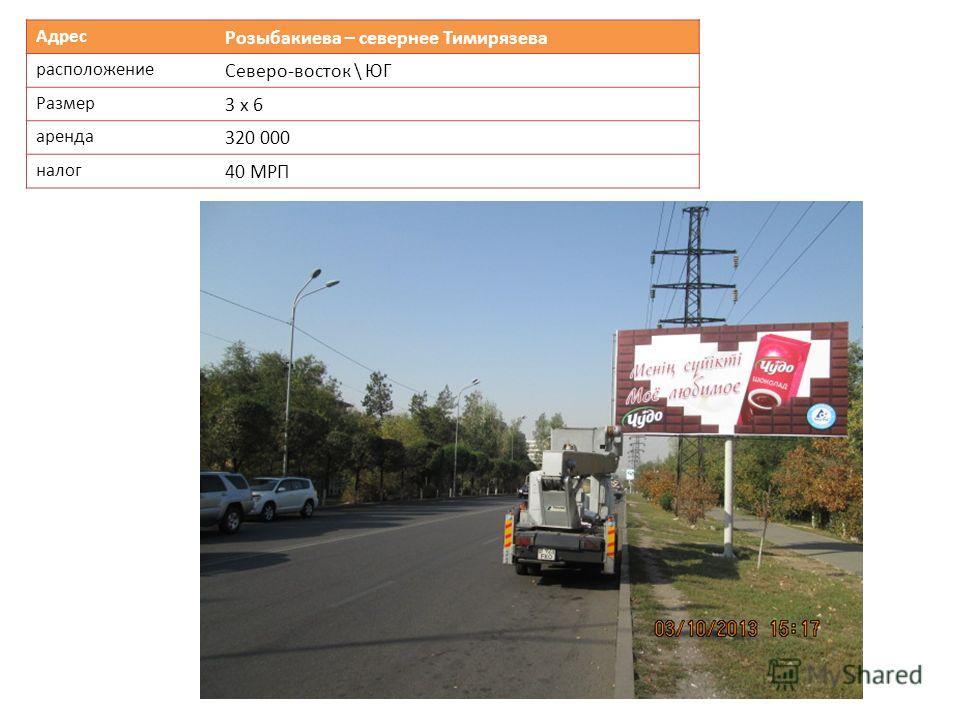 Адрес Розыбакиева – севернее Тимирязева расположение Северо-восток \ ЮГ Размер 3 х 6 аренда 320 000 налог 40 МРП