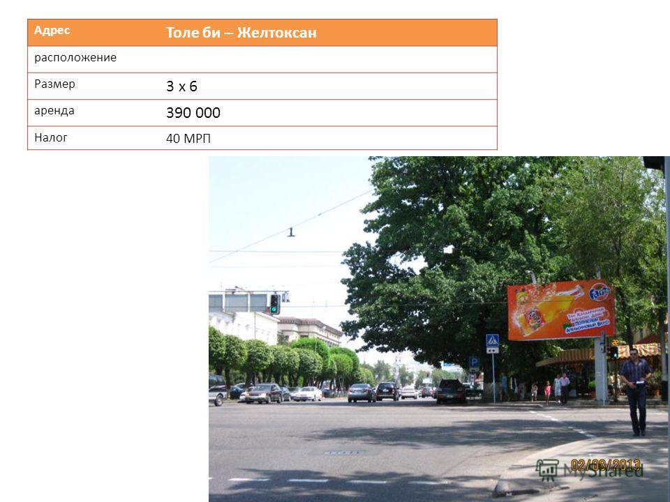 Адрес Толе би – Желтоксан расположение Размер 3 х 6 аренда 390 000 Налог 40 МРП
