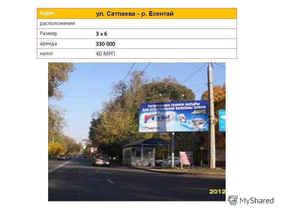 Адрес ул. Сатпаева - р. Есентай расположение Размер 3 х 6 аренда 330 000 налог 40 МРП