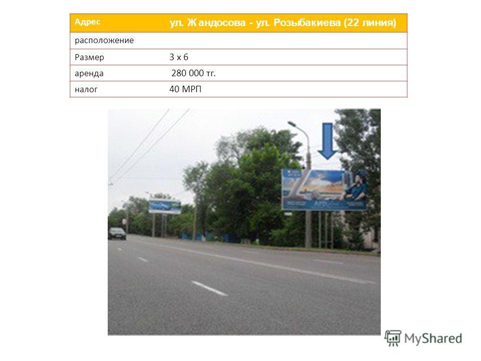 Адрес ул. Жандосова - ул. Розыбакиева (22 линия) расположение Размер 3 х 6 аренда 280 000 тг. налог 40 МРП