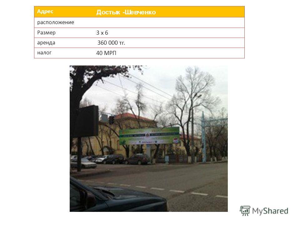 Адрес Достык -Шевченко расположение Размер 3 х 6 аренда 360 000 тг. налог 40 МРП