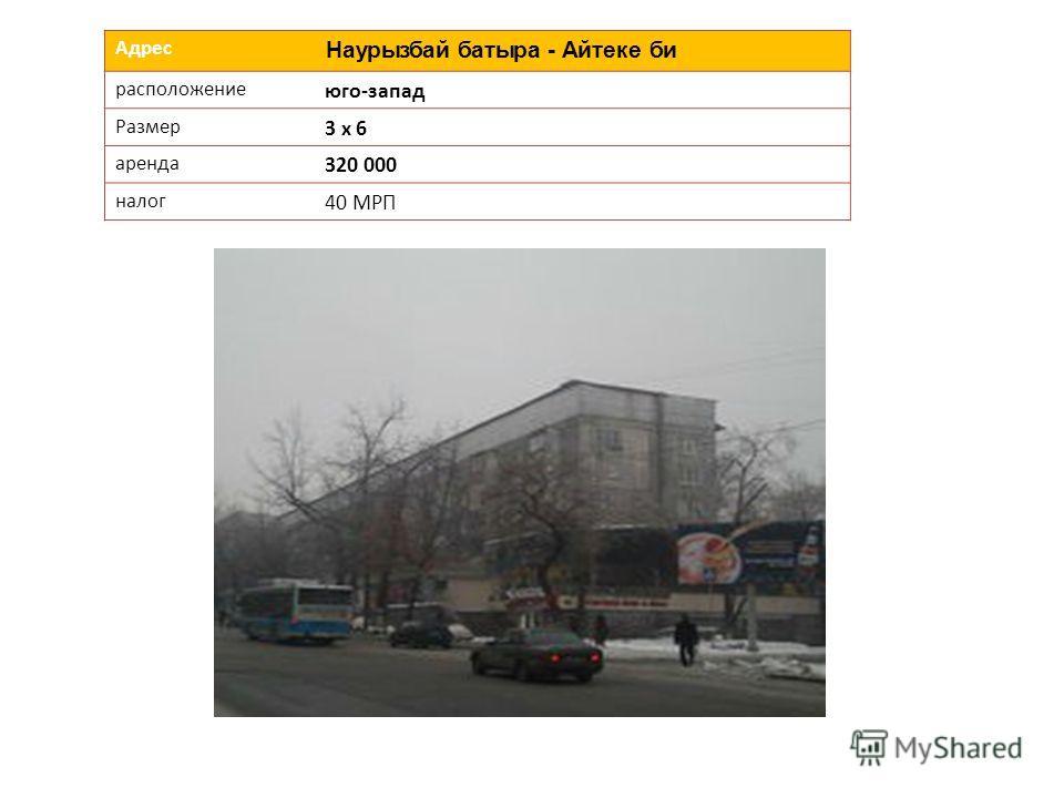 Адрес Наурызбай батыра - Айтеке би расположение юго-запад Размер 3 х 6 аренда 320 000 налог 40 МРП