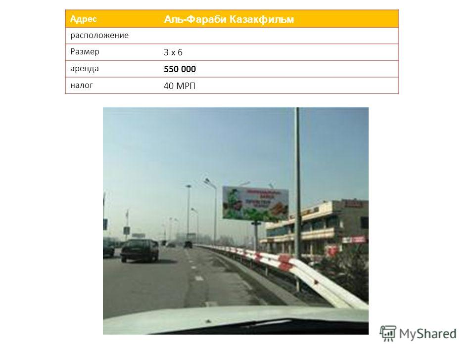 Адрес Аль-Фараби КазакфильмАль-Фараби Казакфильм расположение Размер 3 х 6 аренда 550 000 налог 40 МРП