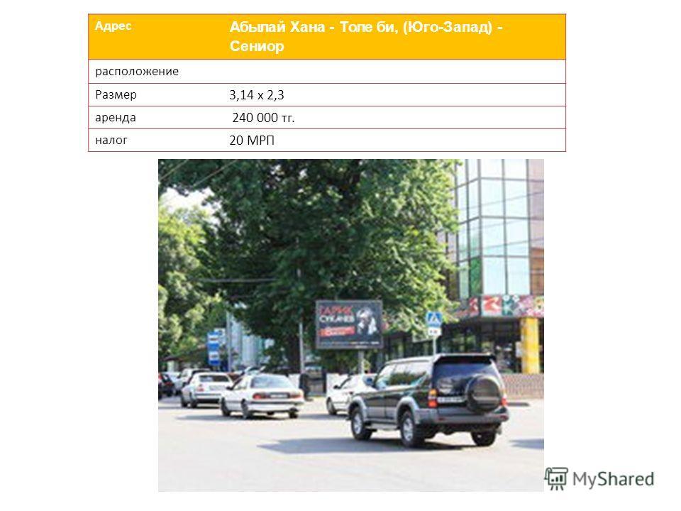 Адрес Абылай Хана - Толе би, (Юго-Запад) - Сениор расположение Размер 3,14 х 2,3 аренда 240 000 тг. налог 20 МРП