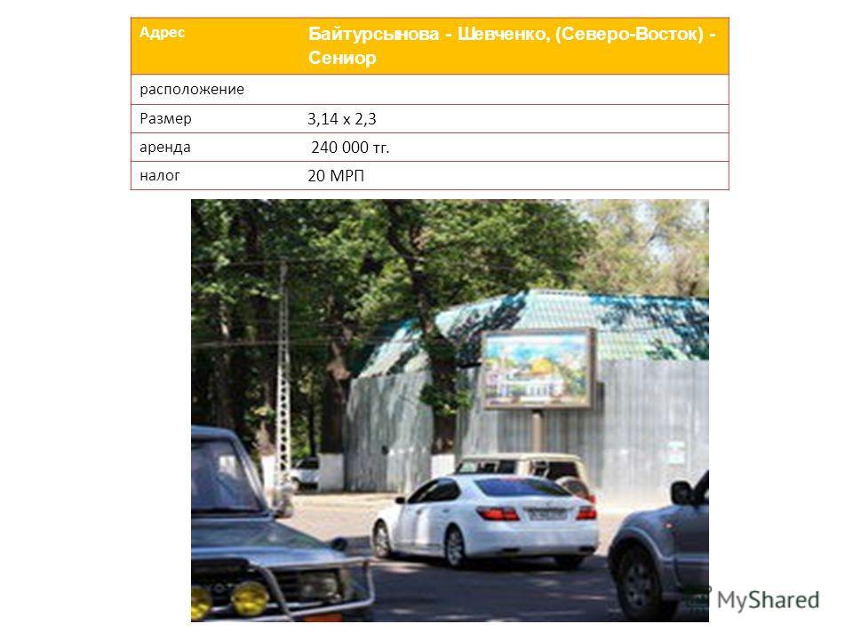 Адрес Байтурсынова - Шевченко, (Северо-Восток) - Сениор расположение Размер 3,14 х 2,3 аренда 240 000 тг. налог 20 МРП
