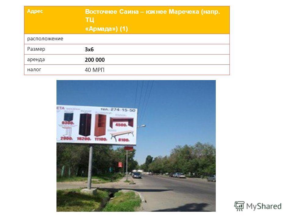 Адрес Восточнее Саина – южнее Маречека (напр. ТЦ «Армада») (1) расположение Размер 3х6 аренда 200 000 налог 40 МРП
