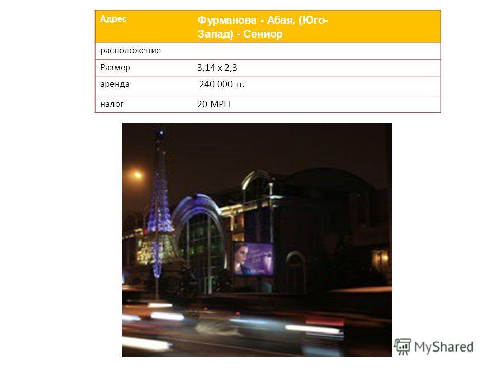 Адрес Фурманова - Абая, (Юго- Запад) - Сениор расположение Размер 3,14 х 2,3 аренда 240 000 тг. налог 20 МРП