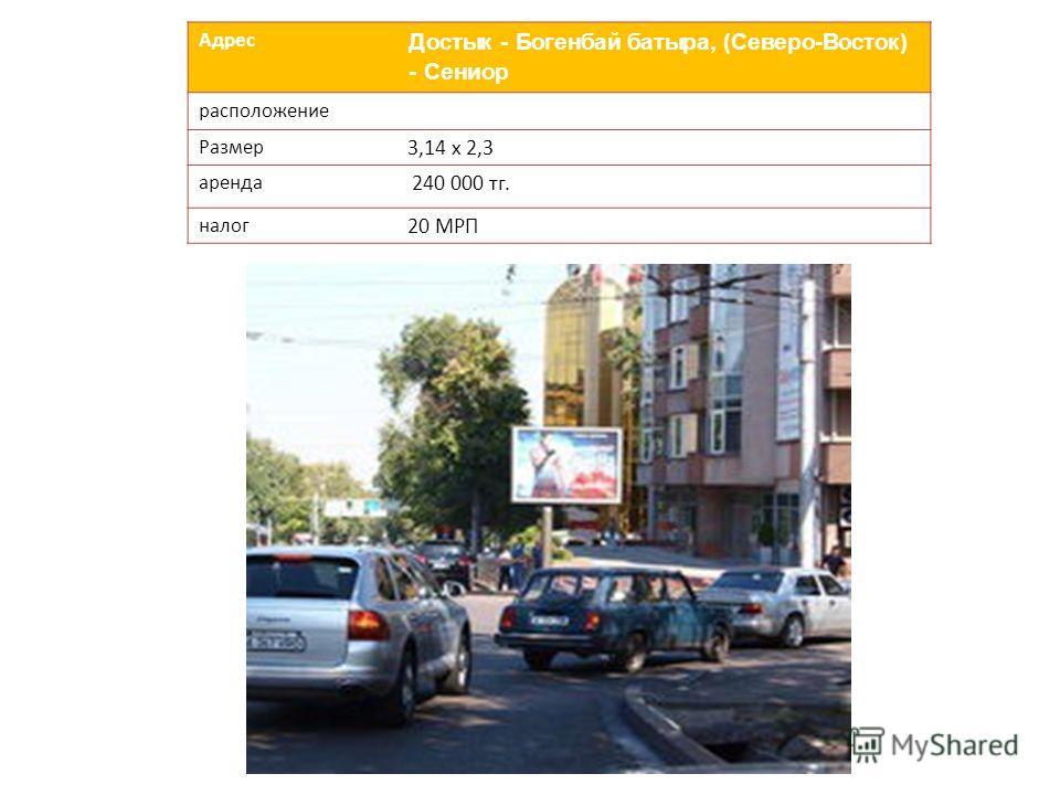 Адрес Достык - Богенбай батыра, (Северо-Восток) - Сениор расположение Размер 3,14 х 2,3 аренда 240 000 тг. налог 20 МРП