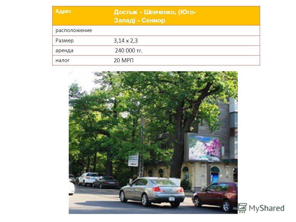 Адрес Достык - Шевченко, (Юго- Запад) - Сениор расположение Размер 3,14 х 2,3 аренда 240 000 тг. налог 20 МРП