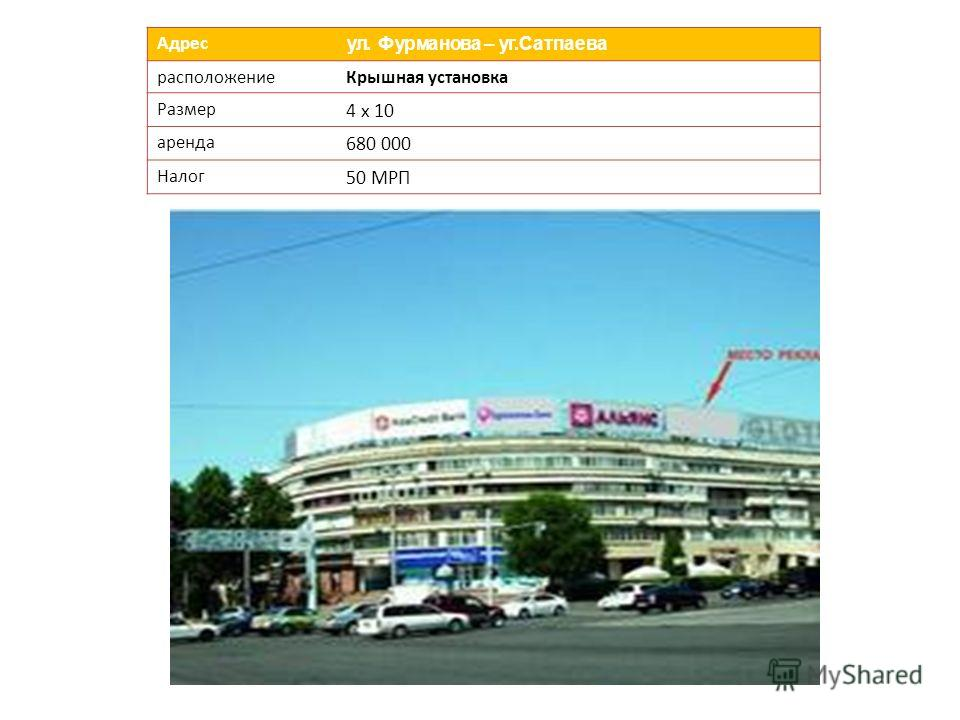 Адрес ул. Фурманова – уг.Сатпаева расположениеКрышная установка Размер 4 х 10 аренда 680 000 Налог 50 МРП