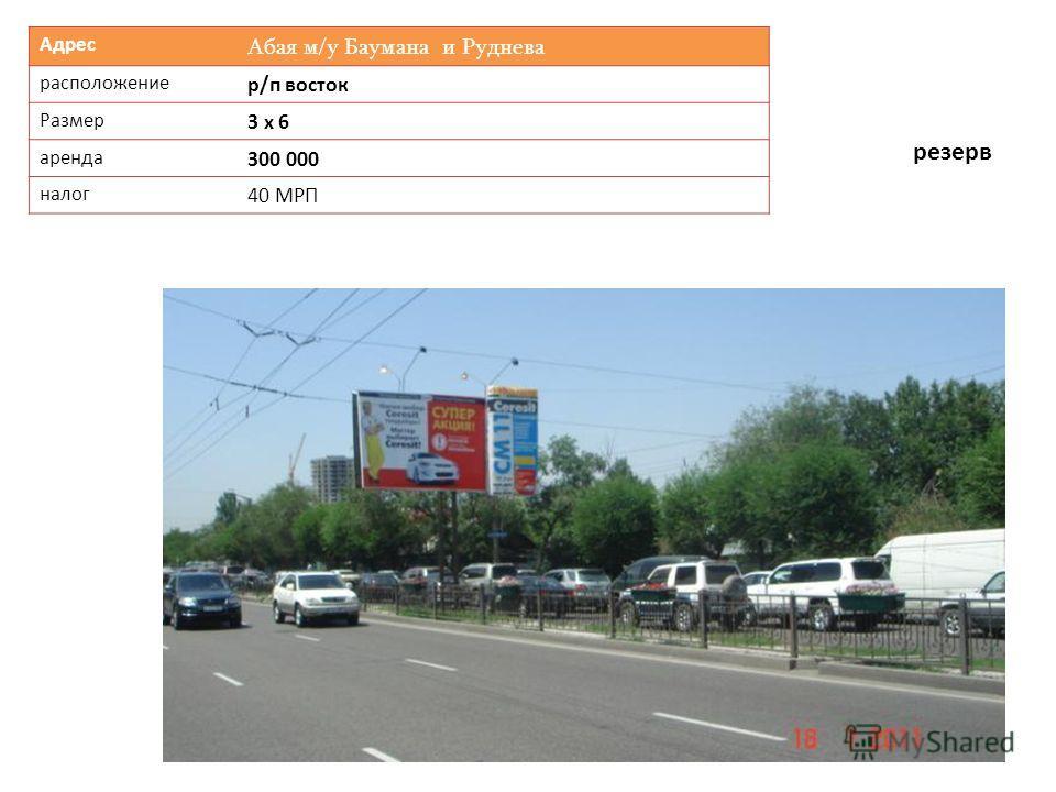 Адрес Абая м/у Баумана и Руднева расположение р/п восток Размер 3 х 6 аренда 300 000 налог 40 МРП резерв