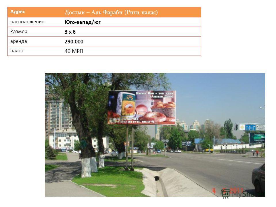 Адрес Достык – Аль Фараби (Ритц палас) расположение Юго-запад/юг Размер 3 х 6 аренда 290 000 налог 40 МРП