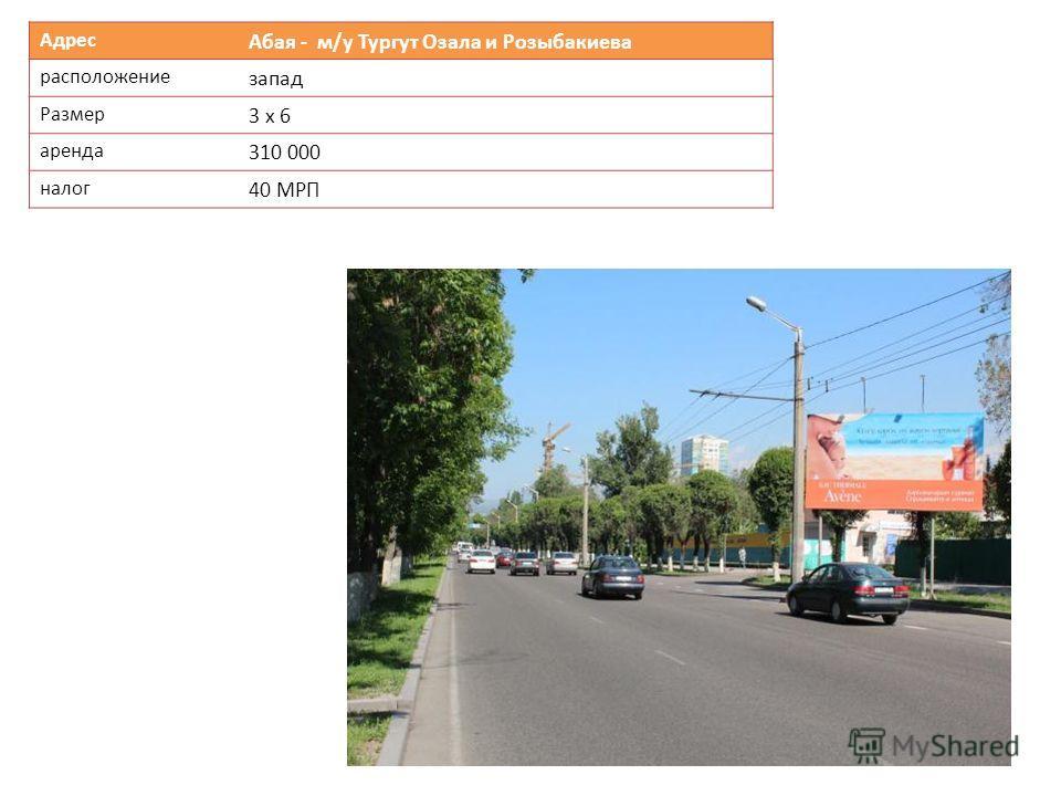 Адрес Абая - м/у Тургут Озала и Розыбакиева расположение запад Размер 3 х 6 аренда 310 000 налог 40 МРП