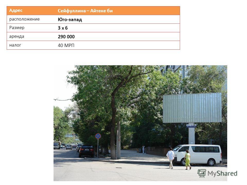 Адрес Сейфуллина – Айтеке би расположение Юго-запад Размер 3 х 6 аренда 290 000 налог 40 МРП