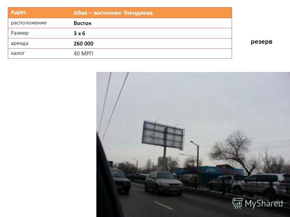 Адрес Абая – восточнее Тлендиева расположение Восток Размер 3 х 6 аренда 260 000 налог 40 МРП резерв
