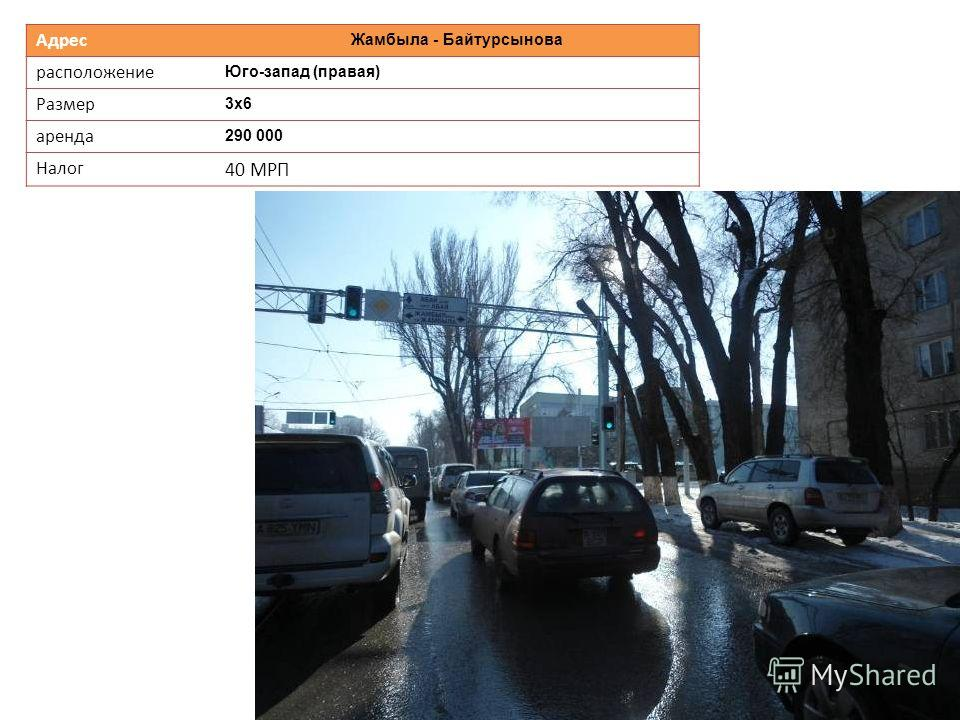 Адрес Жамбыла - Байтурсынова расположение Юго-запад (правая) Размер 3х6 аренда 290 000 Налог 40 МРП