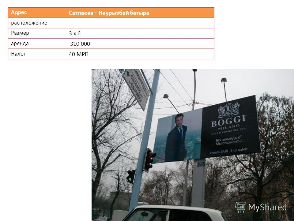 Адрес Сатпаева – Наурызбай батыра расположение Размер 3 х 6 аренда 310 000 Налог 40 МРП