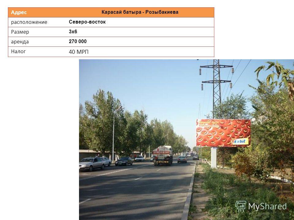 Адрес Карасай батыра - Розыбакиева расположение Северо-восток Размер 3х6 аренда 270 000 Налог 40 МРП