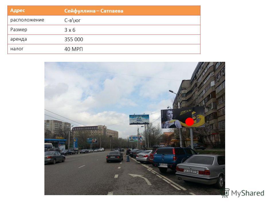 Адрес Сейфуллина – Сатпаева расположение С-в\юг Размер 3 х 6 аренда 355 000 налог 40 МРП