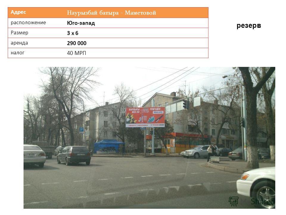 Адрес Наурызбай батыра - Маметовой расположение Юго-запад Размер 3 х 6 аренда 290 000 налог 40 МРП резерв