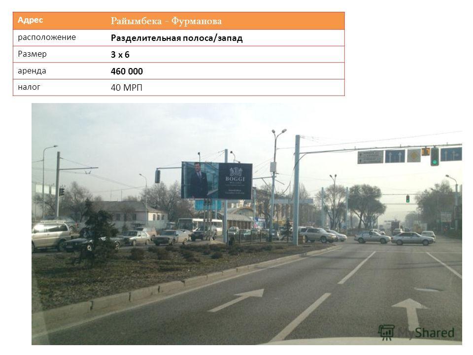 Адрес Райымбека - Фурманова расположение Разделительная полоса/запад Размер 3 х 6 аренда 460 000 налог 40 МРП
