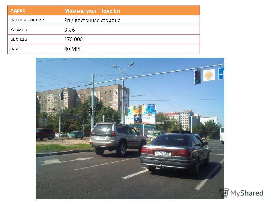 Адрес Момыш улы – Толе би расположение Рп / восточная сторона Размер 3 х 6 аренда 170 000 налог 40 МРП