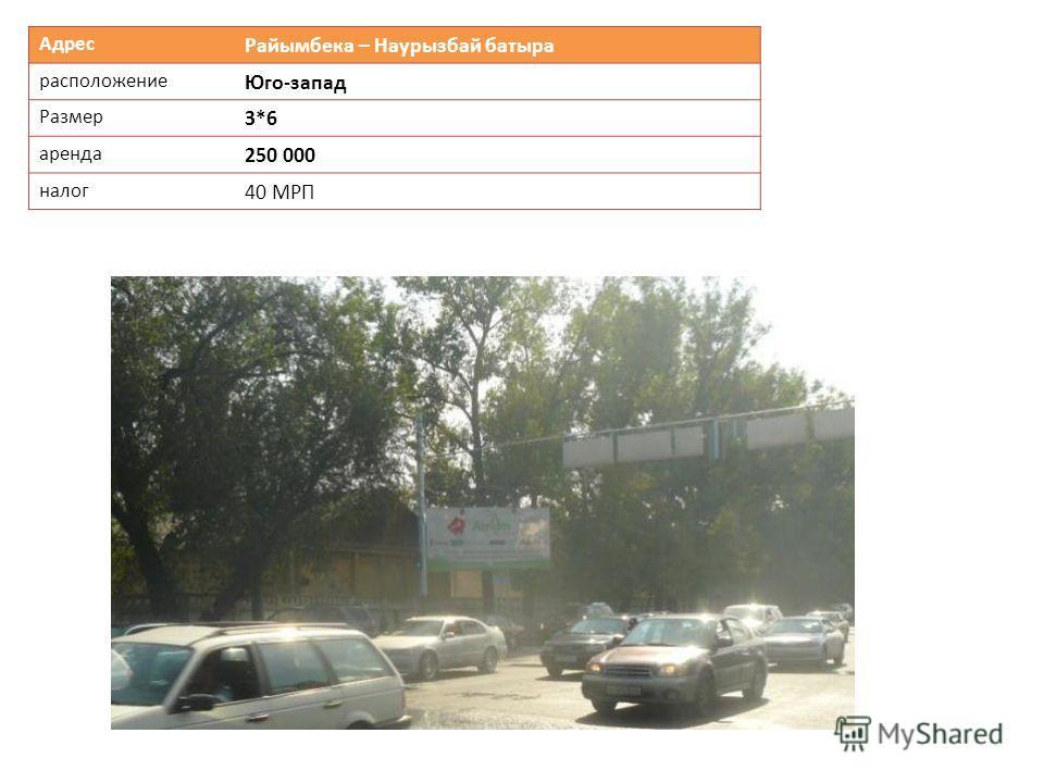 Адрес Райымбека – Наурызбай батыра расположение Юго-запад Размер 3*6 аренда 250 000 налог 40 МРП