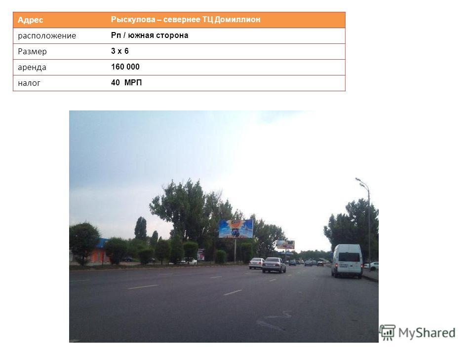 Адрес Рыскулова – севернее ТЦ Домиллион расположение Рп / южная сторона Размер 3 х 6 аренда 160 000 налог 40 МРП