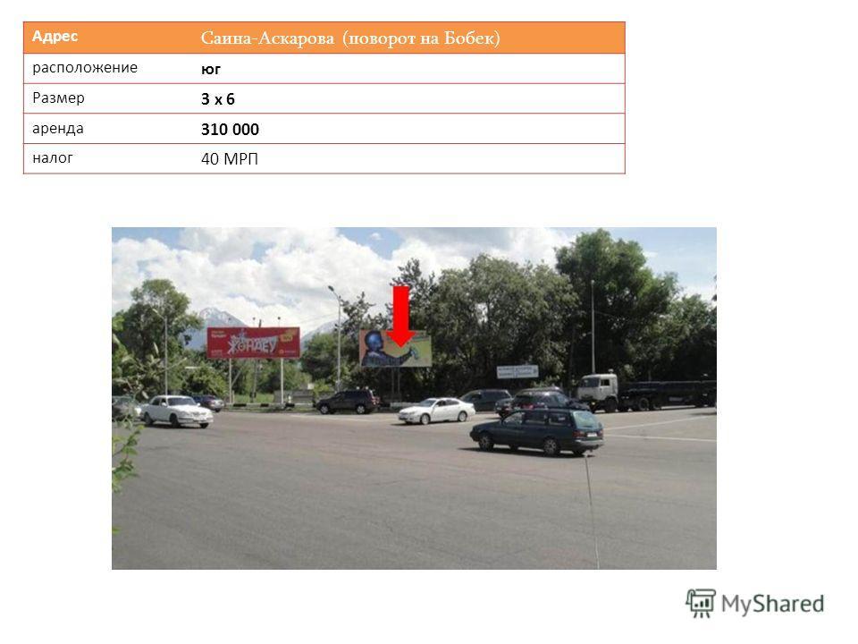 Адрес Саина-Аскарова (поворот на Бобек) расположение юг Размер 3 х 6 аренда 310 000 налог 40 МРП