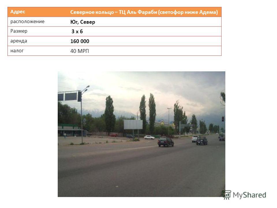Адрес Северное кольцо – ТЦ Аль Фараби (светофор ниже Адема) расположение Юг, Север Размер 3 х 6 аренда 160 000 налог 40 МРП