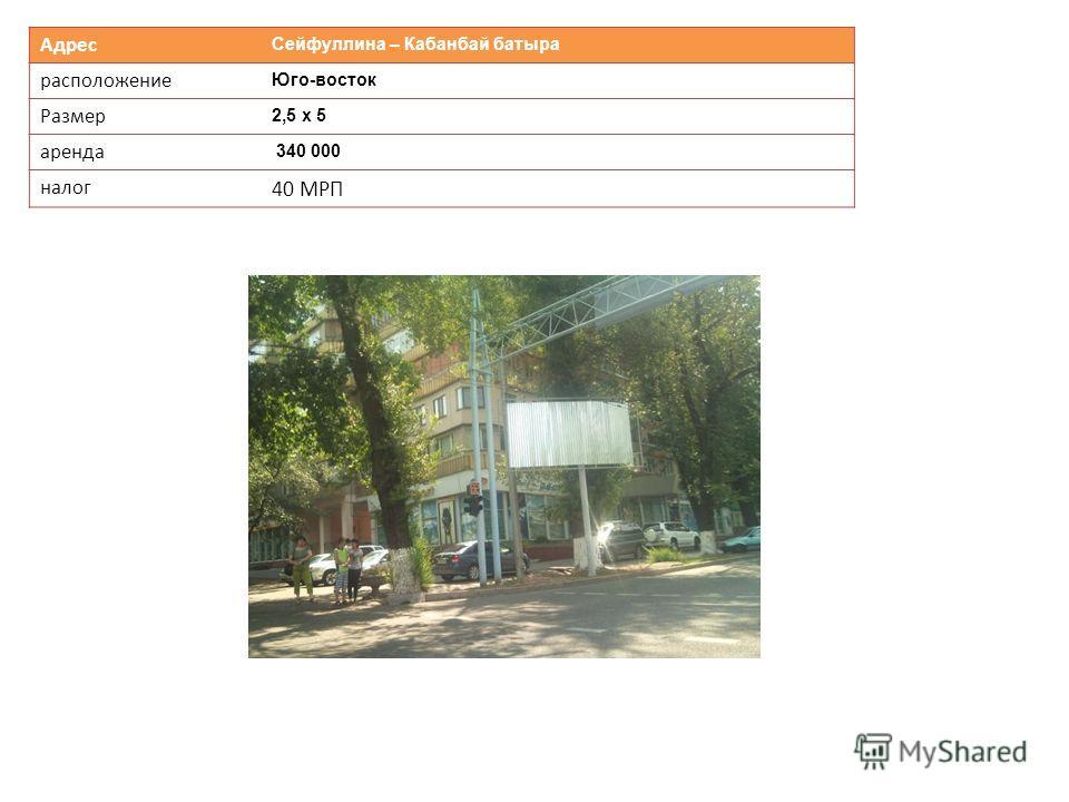Адрес Сейфуллина – Кабанбай батыра расположение Юго-восток Размер 2,5 х 5 аренда 340 000 налог 40 МРП