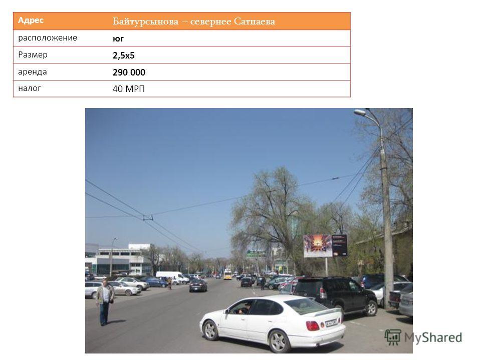 Адрес Байтурсынова – севернее Сатпаева расположение юг Размер 2,5х5 аренда 290 000 налог 40 МРП