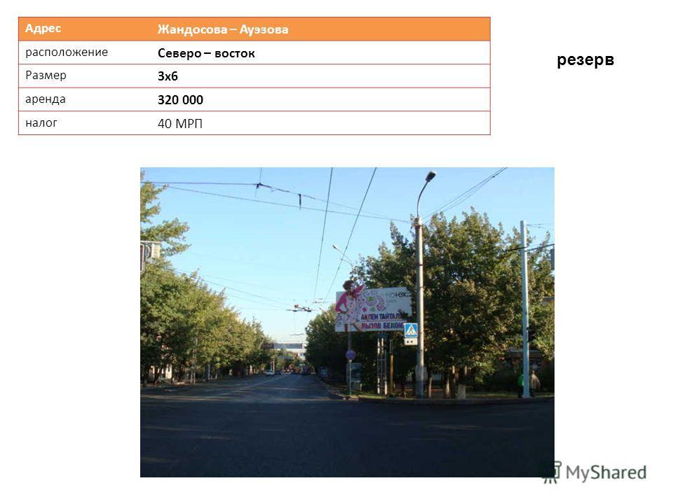 Адрес Жандосова – Ауэзова расположение Северо – восток Размер 3х6 аренда 320 000 налог 40 МРП резерв
