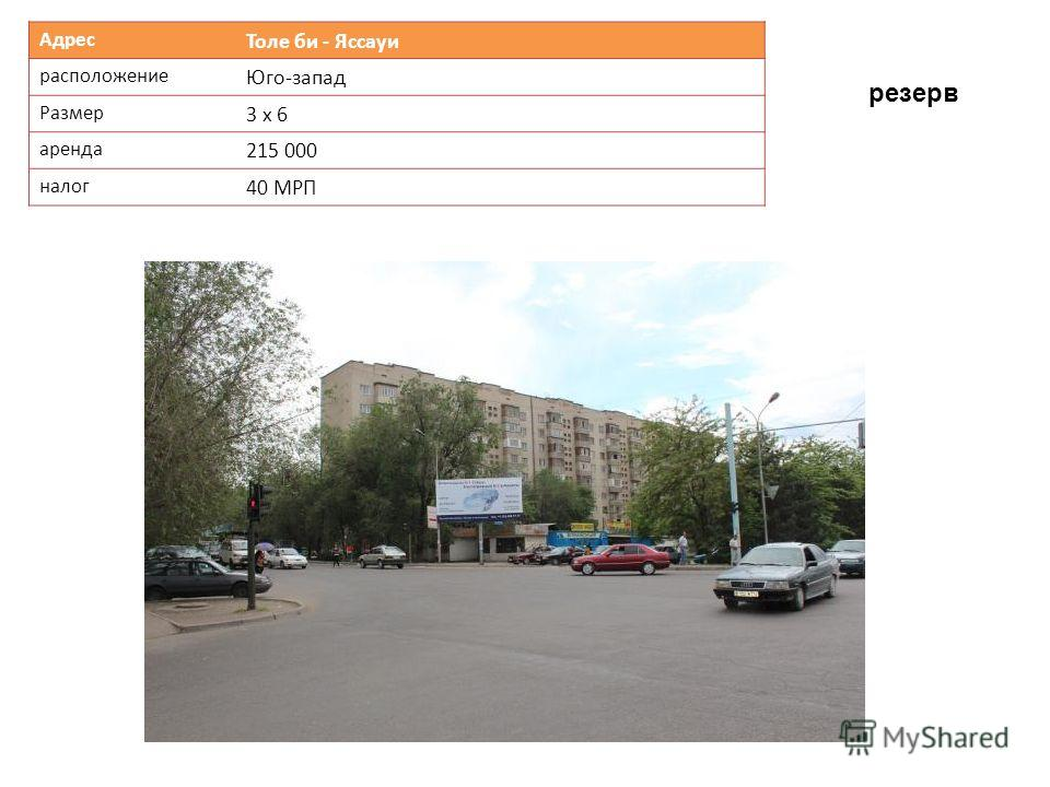 Адрес Толе би - Яссауи расположение Юго-запад Размер 3 х 6 аренда 215 000 налог 40 МРП резерв