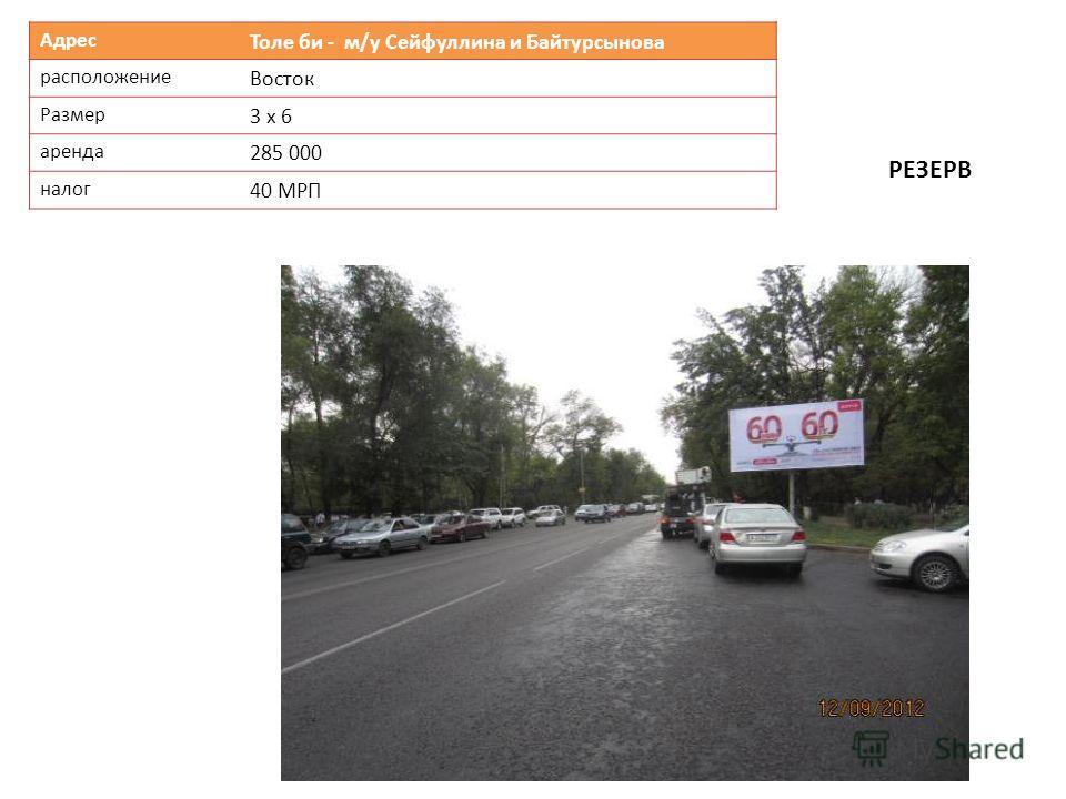 Адрес Толе би - м/у Сейфуллина и Байтурсынова расположение Восток Размер 3 х 6 аренда 285 000 налог 40 МРП РЕЗЕРВ