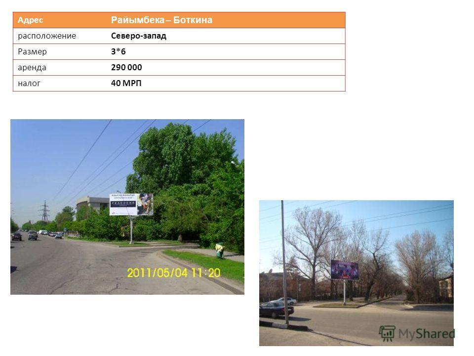 Адрес Райымбека – Боткина расположениеСеверо-запад Размер3*6 аренда290 000 налог40 МРП