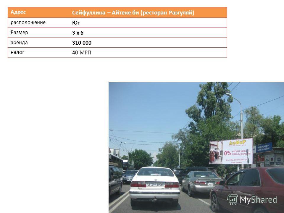 Адрес Сейфуллина – Айтеке би (ресторан Разгуляй) расположение Юг Размер 3 х 6 аренда 310 000 налог 40 МРП