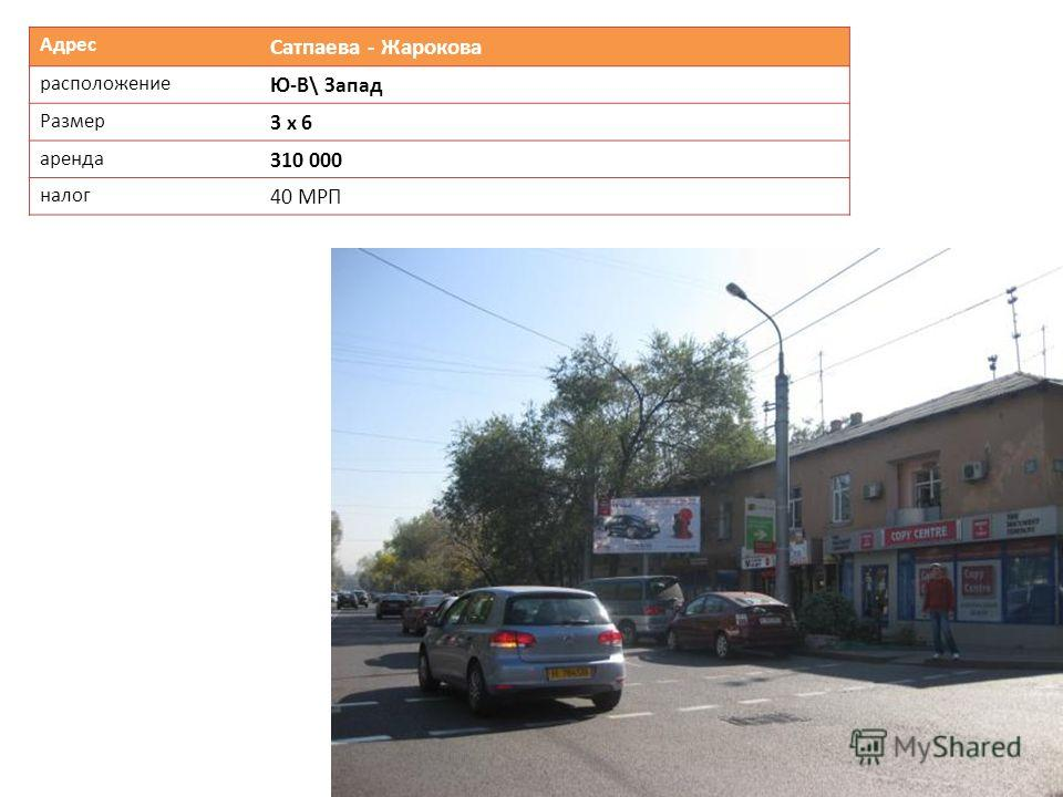Адрес Сатпаева - Жарокова расположение Ю-В\ Запад Размер 3 х 6 аренда 310 000 налог 40 МРП