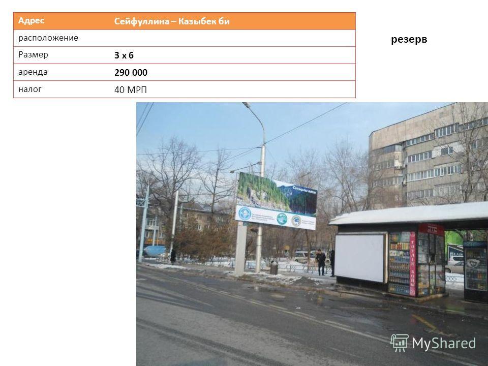 Адрес Сейфуллина – Казыбек би расположение Размер 3 х 6 аренда 290 000 налог 40 МРП резерв