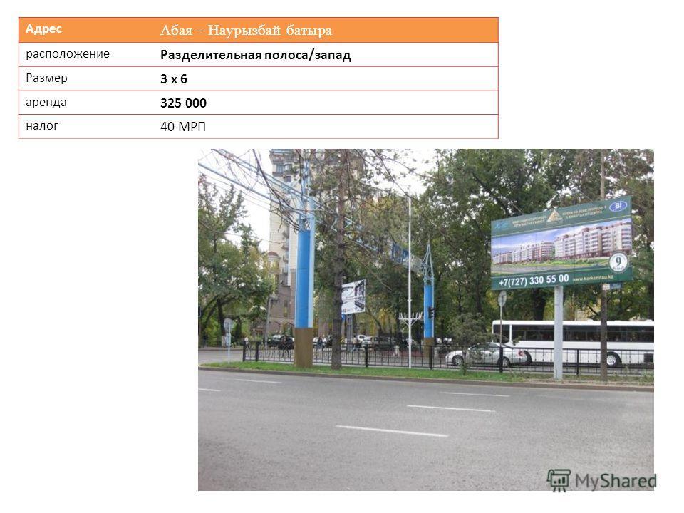Адрес Абая – Наурызбай батыра расположение Разделительная полоса/запад Размер 3 х 6 аренда 325 000 налог 40 МРП