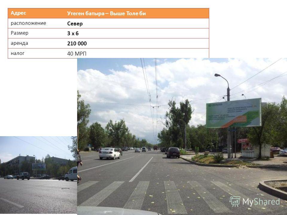 Адрес Утеген батыра – Выше Толе би расположение Север Размер 3 х 6 аренда 210 000 налог 40 МРП