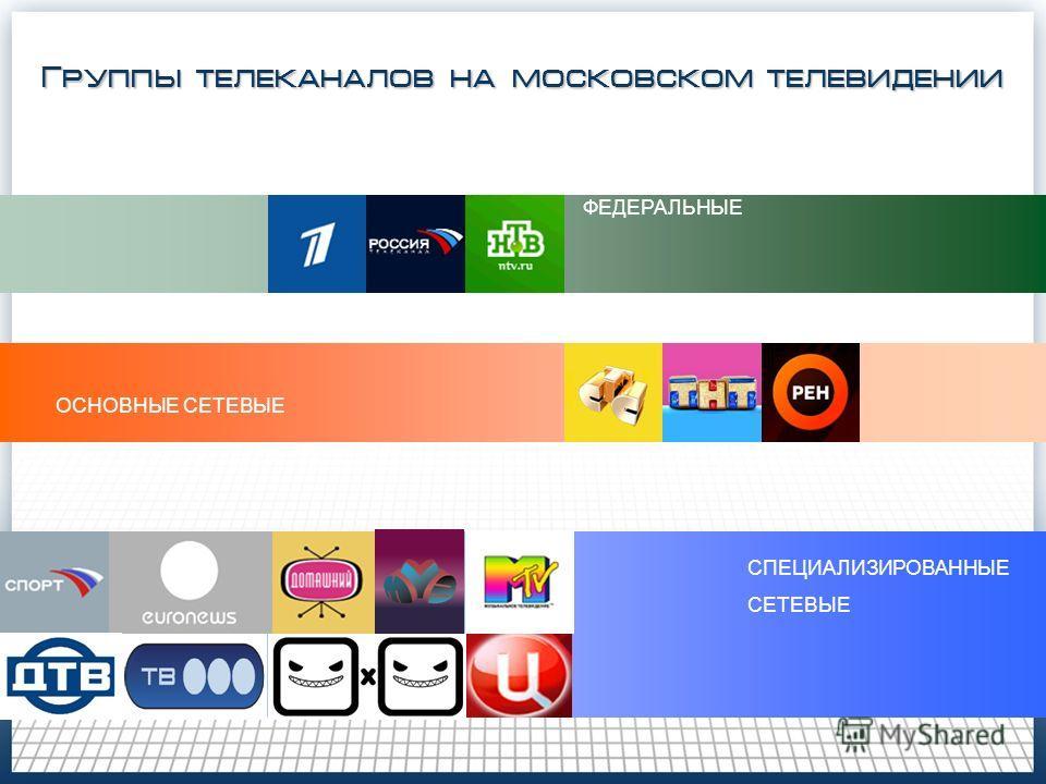 ФЕДЕРАЛЬНЫЕ ОСНОВНЫЕ СЕТЕВЫЕ СПЕЦИАЛИЗИРОВАННЫЕ СЕТЕВЫЕ Группы телеканалов на московском телевидении