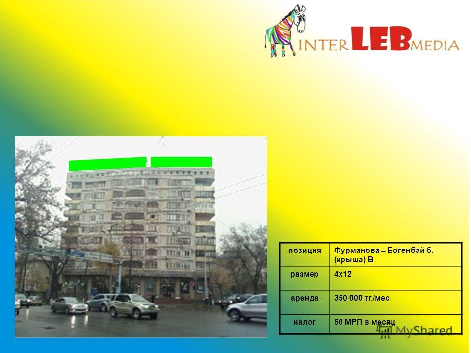 позицияФурманова – Богенбай б. (крыша) В размер4х12 аренда350 000 тг./мес налог50 МРП в месяц