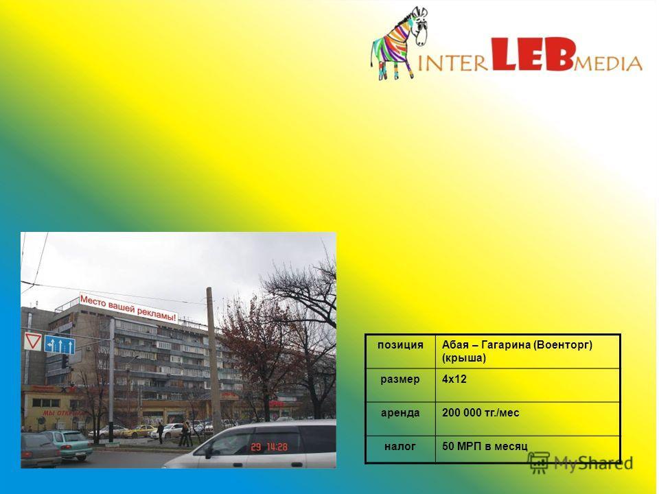 позицияАбая – Гагарина (Военторг) (крыша) размер4х12 аренда200 000 тг./мес налог50 МРП в месяц