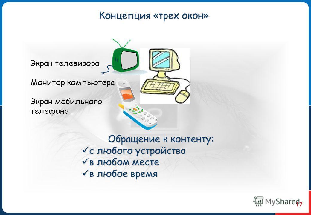 17 Концепция «трех окон» Экран телевизора Монитор компьютера Экран мобильного телефона Обращение к контенту: с любого устройства с любого устройства в любом месте в любом месте в любое время в любое время