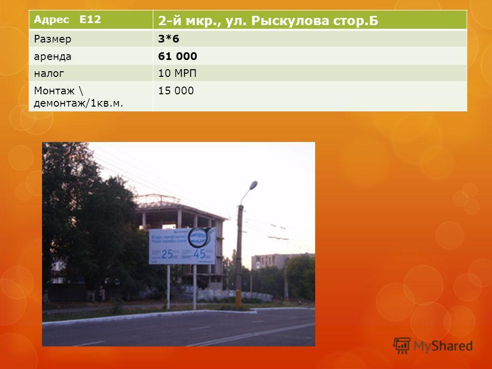 Адрес E12 2-й мкр., ул. Рыскулова стор.Б Размер3*6 аренда61 000 налог10 МРП Монтаж \ демонтаж/1кв.м. 15 000