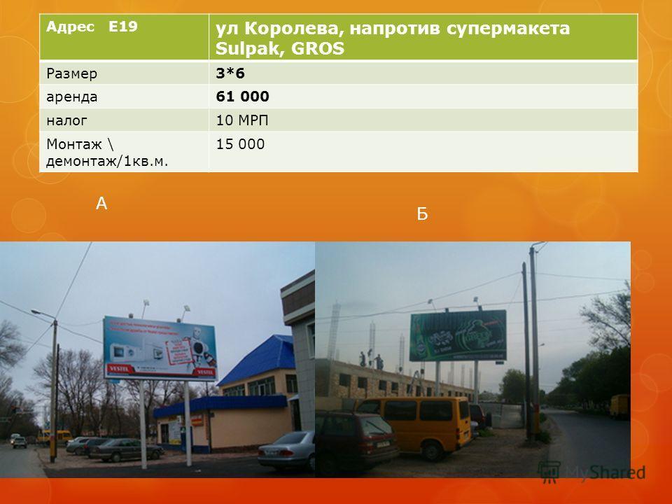 Адрес E19 ул Королева, напротив супермакета Sulpak, GROS Размер3*6 аренда61 000 налог10 МРП Монтаж \ демонтаж/1кв.м. 15 000 А Б