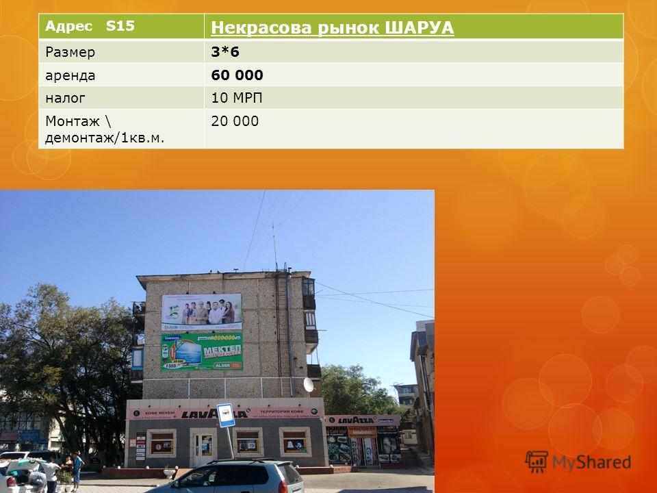 Адрес S15 Некрасова рынок ШАРУА Размер3*6 аренда60 000 налог10 МРП Монтаж \ демонтаж/1кв.м. 20 000