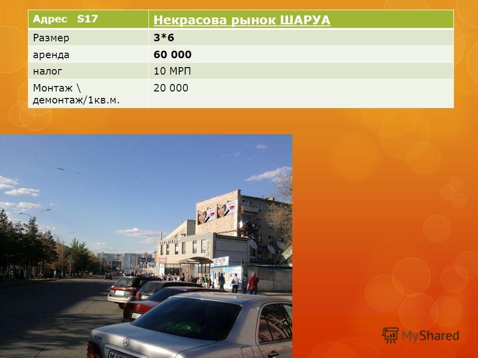 Адрес S17 Некрасова рынок ШАРУА Размер3*6 аренда60 000 налог10 МРП Монтаж \ демонтаж/1кв.м. 20 000